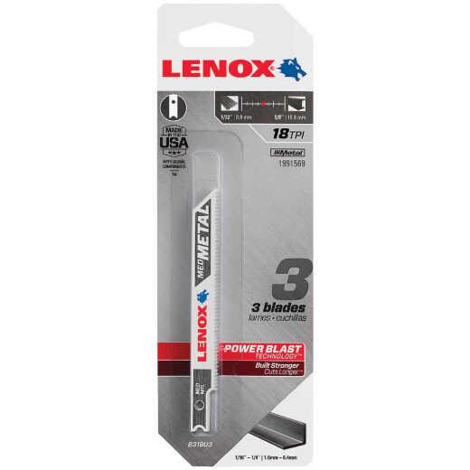 Lenox U-Shank 3-5/8 In. x 18 TPI Bi-Metal Jig Saw Blade, Medium Metal (3-Pack)