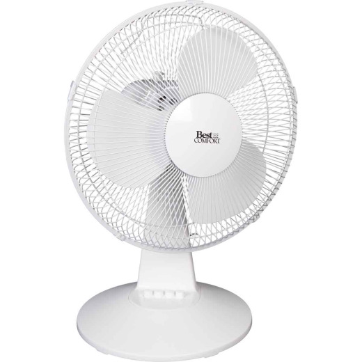 Best Comfort 16 In. 3-Speed Gray & White Oscillating Table Fan